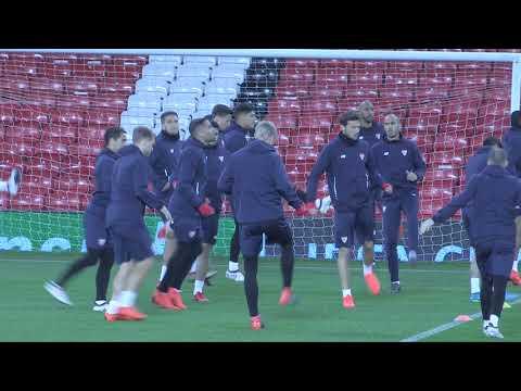 Sevilla train at Old Trafford ahead of Manchester United clash