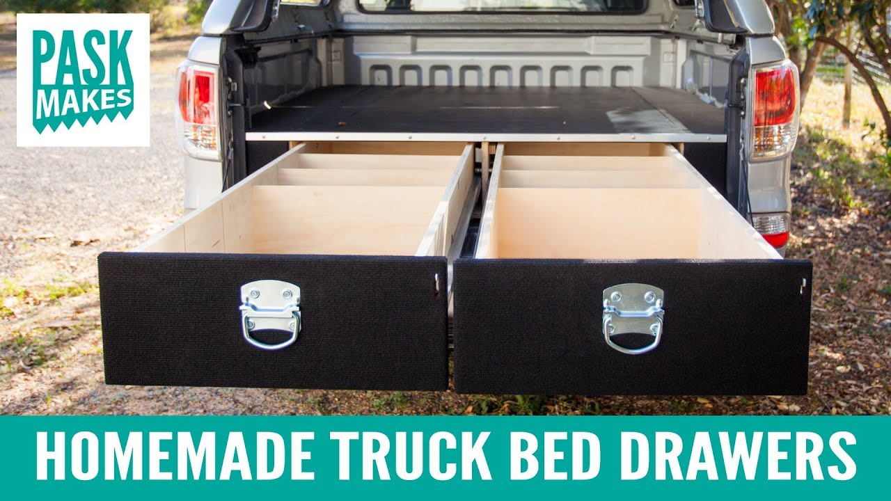Truck Bed Tool Box With Drawers >> Homemade Truck Bed Drawers Youtube