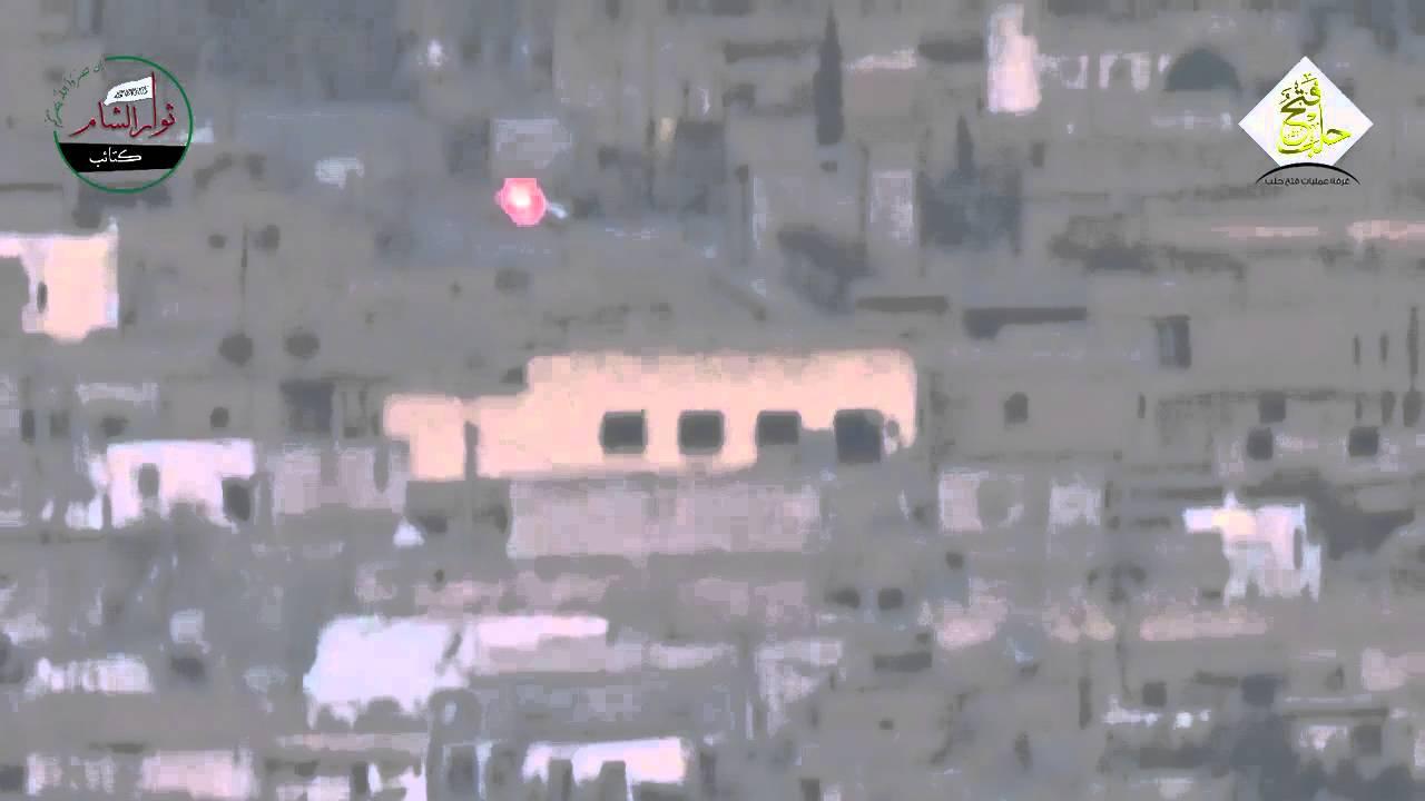 Сирия.Юг Алеппо.Уход от противотанковой ракеты водителем САА