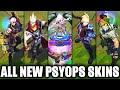 All New PsyOps Skins Spotlight Sona, Master Yi, Ezreal, Shen, Vi (League of Legends)
