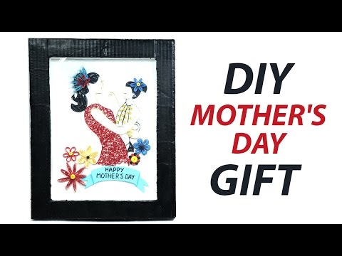 DIY Mother's Day Gift Idea, Quilling Mothers Day Painting with Cardboard Frame
