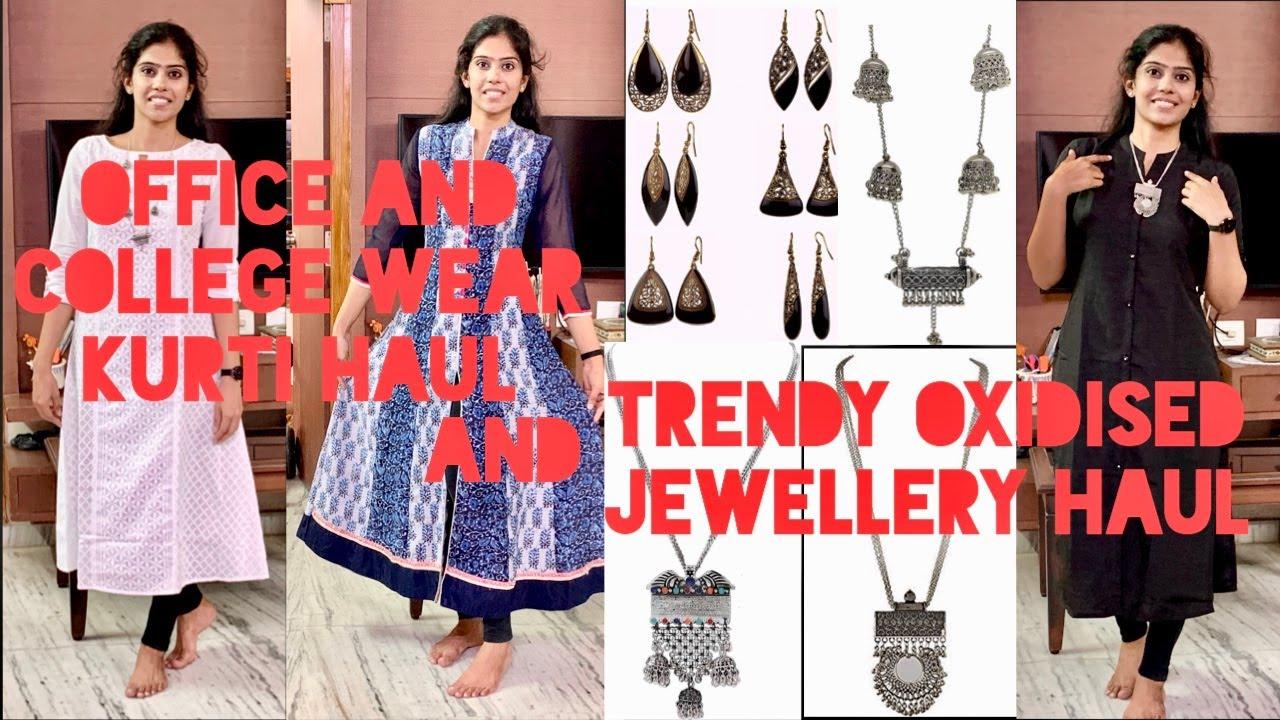 College and office wear amazon kurti haul |Amazon oxidised jewellery haul|online kurtis n jewellery