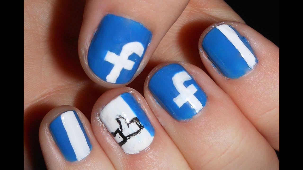 Facebook Nail Art - Short Nails - YouTube