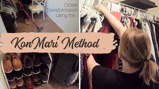 CLOSET TRANSFORMATION || KonMari METHOD || CLEANING MOTIVATION