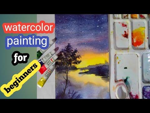 #JiyaanArt #watercolor_painting Watercolor painting for beginners, beautiful night sky.