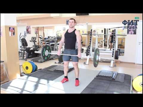 Шраги со штангой стоя: упражнение для мышц трапеции (техника выполнения)