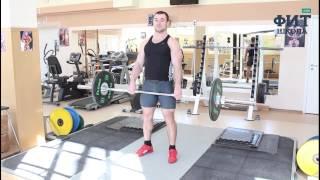 Шраги со штангой стоя: упражнение для мышц трапеции (техника выполнения)(Изолированное упражнение для развития трапециевидных мышц. Техника выполнения упражнения с большими веса..., 2014-03-31T12:19:58.000Z)