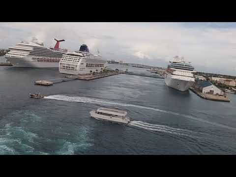 Carnival Ecstasy Leaving Nassau Bahamas (View From Stern) (6/17/17)