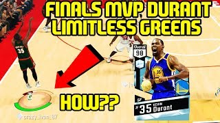 98 diamond kevin durant limitless range greens! nba 2k17 myteam gameplay finals mvp