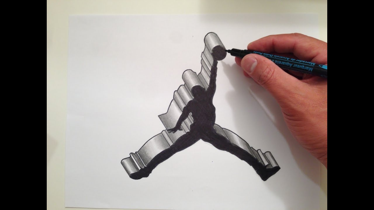 How To Draw The Air Jordan Logo In 3D   YouTube