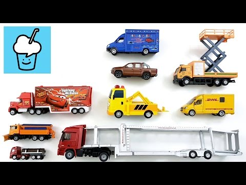 learning Trucks for kids 2 with siku disney cars Tayo the little bus 타요 꼬마버스 타요 중앙차고지