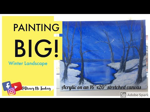 Acrylic Painting || Simple Winter Landscape