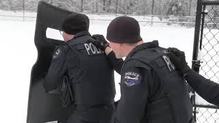 Американские полицейские играют в снежки с детьми