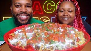 TACO TUESDAY MUKBANG!!! GIANT FLAMIN' HOT LOADED NACHOS MUKBANG 먹방 EATING SHOW