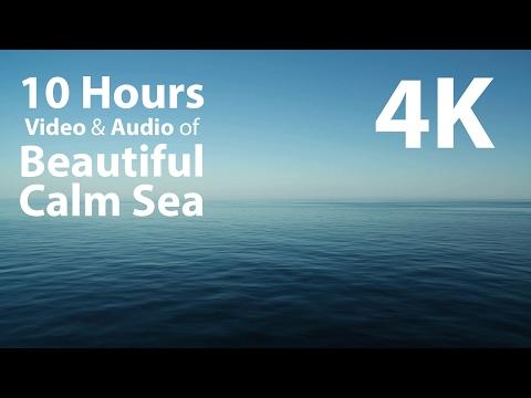 4K UHD 10 hours - Beautiful Calm Sea & Gentle Waves Audio window - relaxing, meditation, nature