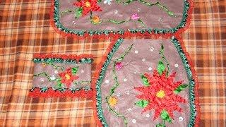 DIY Juego de baño bordado en listón para esta Navidad