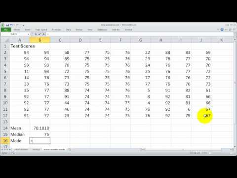 Using the Median, Mean and Mode functions in Excel