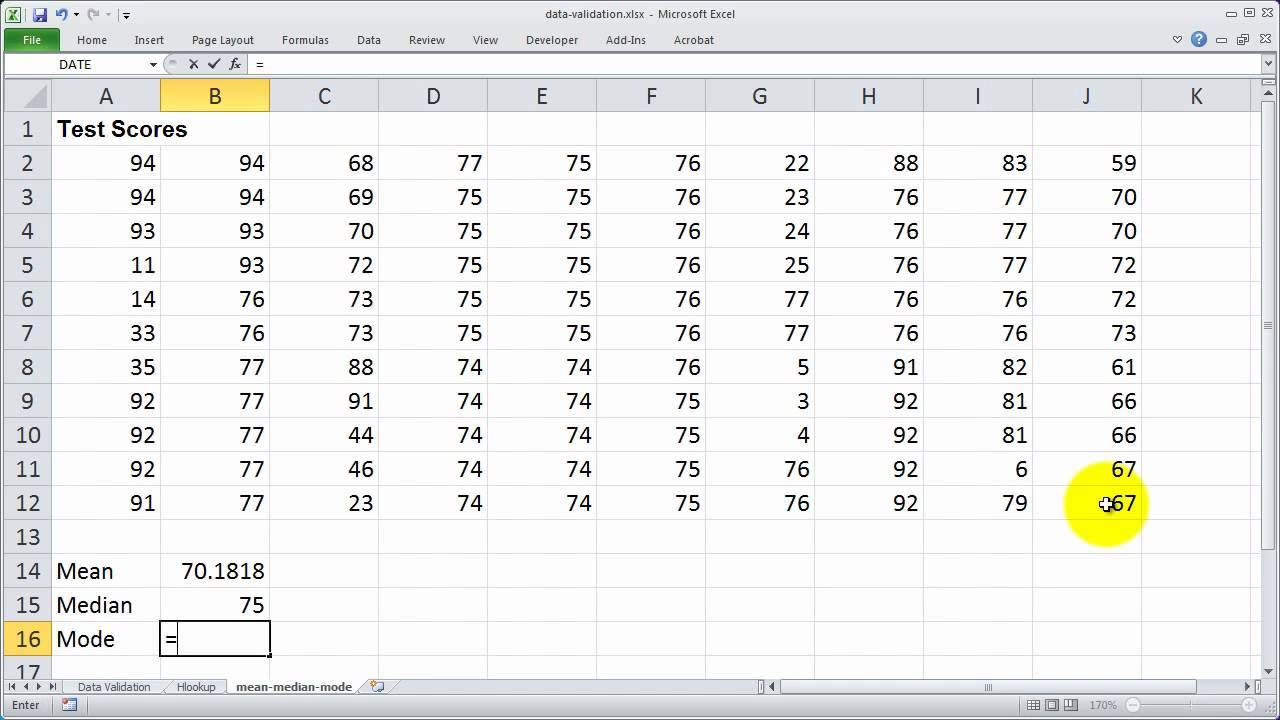 Using the median mean and mode functions in excel youtube using the median mean and mode functions in excel ccuart Gallery