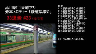 【JR】品川駅11番線下り 発車メロディー「鉄道唱歌C」 33連発