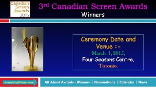 2015 Canadian Screen Awards Winners of Film Category