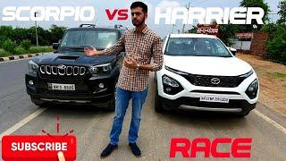 Tata Harrier vs Mahindra Scorpio | Drag Race | Diesel 140bhp Battle
