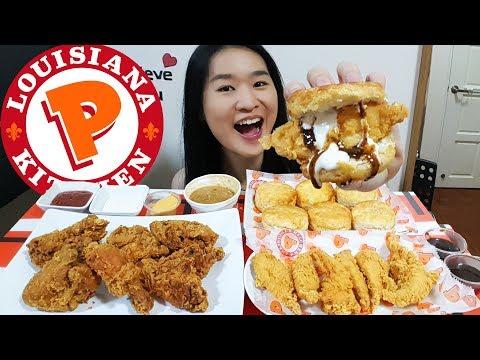 POPEYES Chicken Biscuit Sandwich, Spicy Cajun Fried Chicken, Chicken Tenders | Eating Show Mukbang