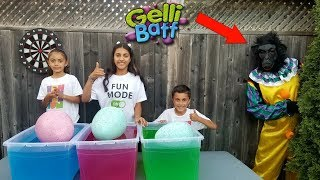 Kids Pretend Play with Huge Egg Surprise Toys in Gelli Baff