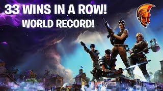 33 WINS IN A ROW! NEW WORLD RECORD! (Fortnite Battle Royale)