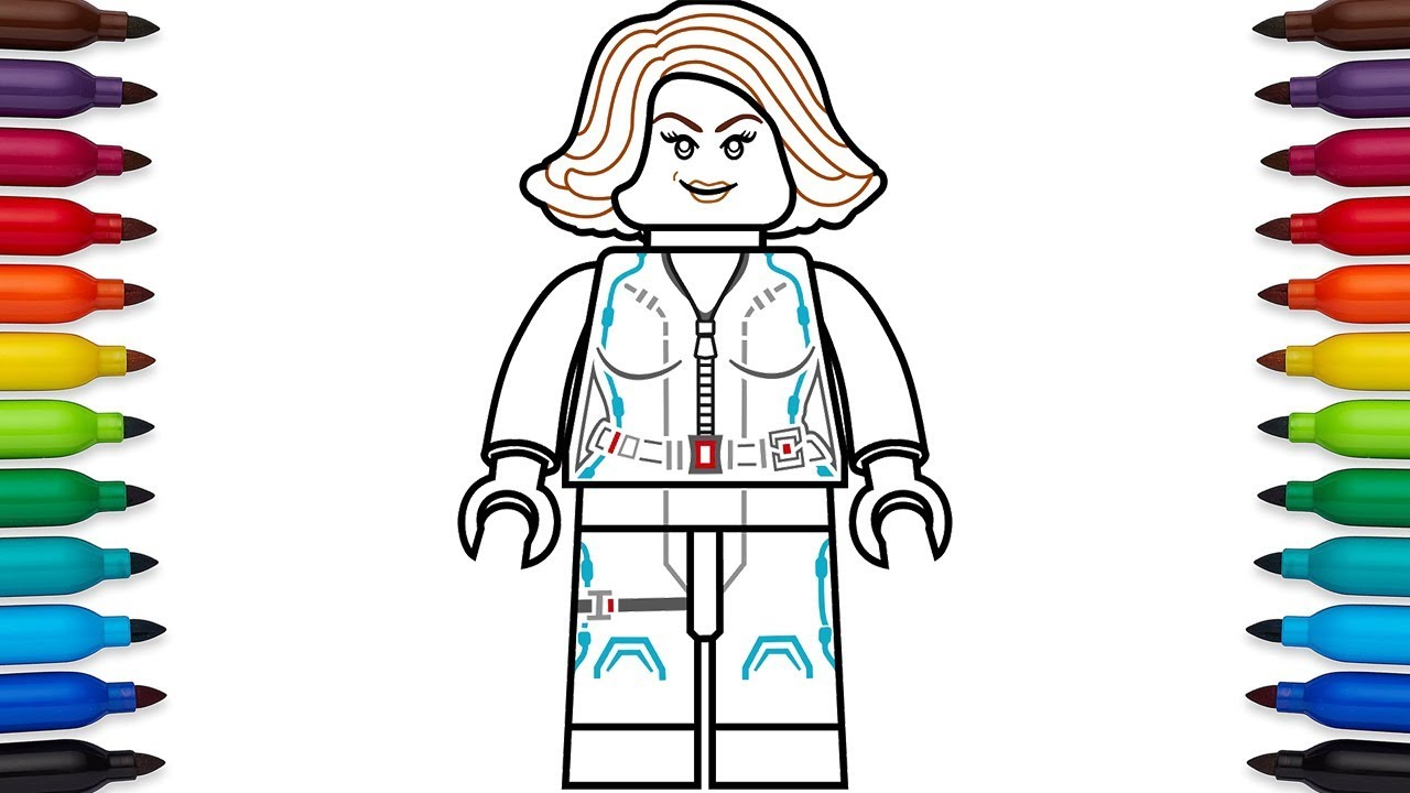 How to draw Lego Black Widow Natasha