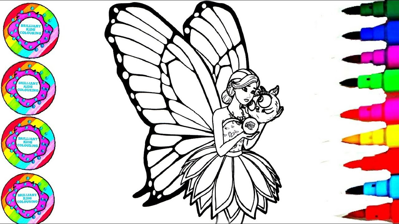 Colouring drawings barbie mariposa coloring with all shades of pink wings with gemstones