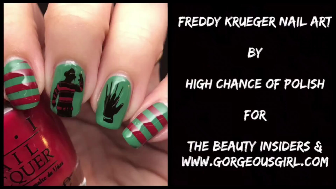 Freddy Krueger Nail Art | Reverse Stamping Without A Mat | The ...