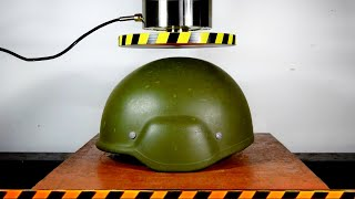 HYDRAULIC PRESS AGAINST HELMET ARMOR, MODERN AND OLD