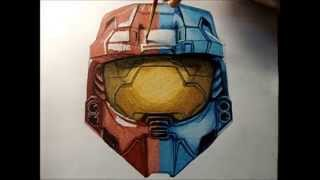 Drawing Time Lapse - Red vs Blue Helmet