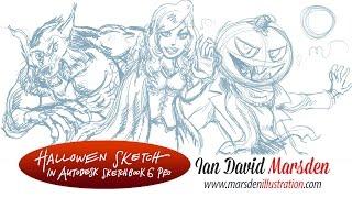 Drawing Tutorial: Sketching Halloween Monsters Cartoon in SketchBook Pro
