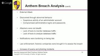 Security Assessment Best Practices (Anthem and Premera data breaches)