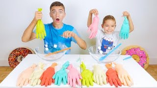 Don't Choose the Wrong Glove Slime Challenge ! - Comment faire du Slime avec des Gants ?