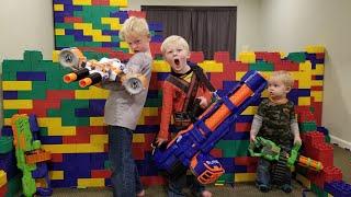 LEGO FORT Nerf War!!! 400 lbs of Legos, 60 Guns & 4000 Nerf Darts