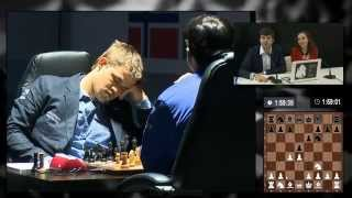 Carlsen slept for 10 sec after Anand's 4th move (World Chess Championship 2014 - Game 8) thumbnail
