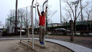 デッドハング・吊り輪スローマッスルアップ(Ring slow muscle up)