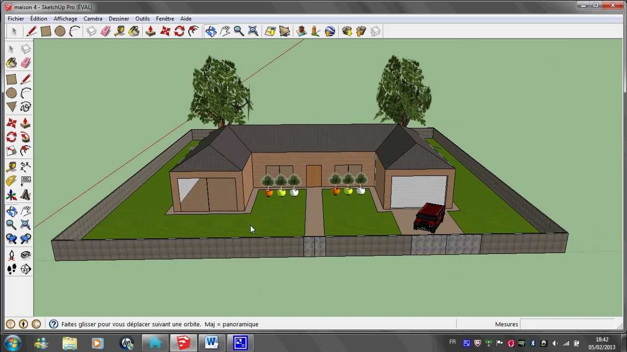 R alisation d 39 une maison avec google sketchup youtube for Plan maison google sketchup