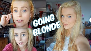 Repeat youtube video Going From: BROWN to Platinum BLONDE Hair at Home VLOG! | Ellesse