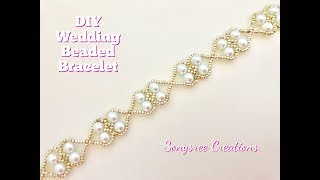 Beaded Wedding Bracelet. Easy Beading. How to make beaded bracelet