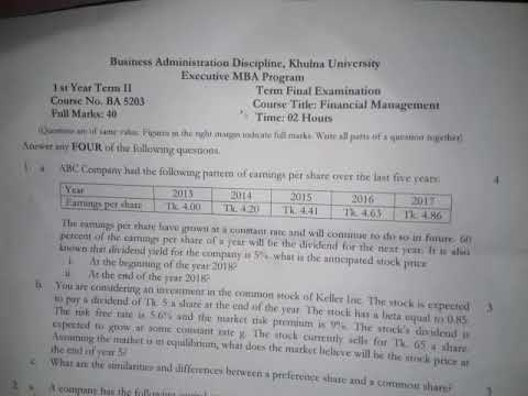 khulna university MBA finance question