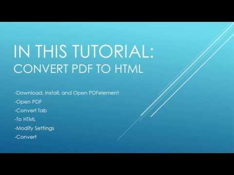 How To Convert PDF To HTML