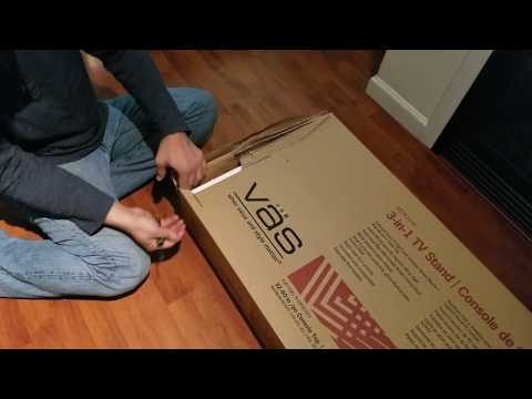 VAS TV stand with swivel mount unboxing and installation