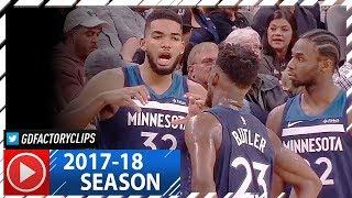 Andrew Wiggins, Karl-Anthony Towns & Jimmy Butler Highlights vs Spurs (2017.10.18) - Butler's Debut!
