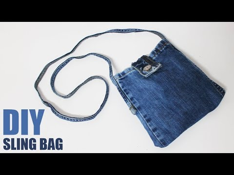 DIY Sling Bag from Jeans - No sew bag from jeans thumbnail