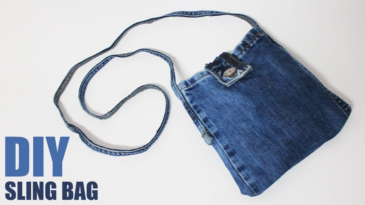 Diy Sling Bag From Jeans No Sew Bag From Jeans