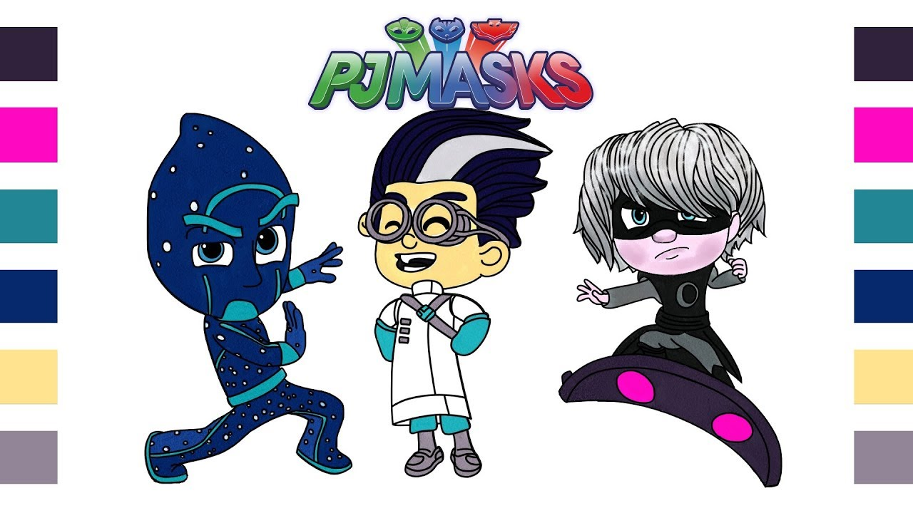 Coloring Pages PJ Masks In Romeo Ninja Linos Luna Girl Disney Junior Painting