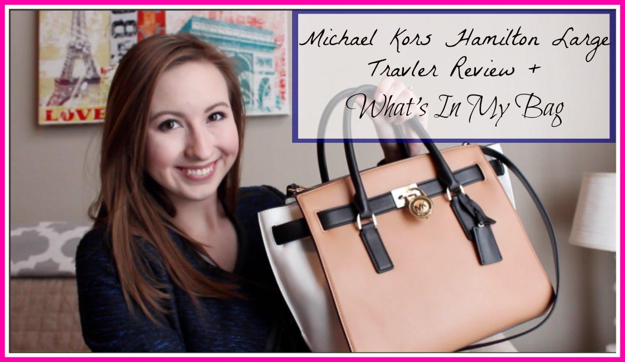 37c7ceba3a04 Michael Kors Hamilton Large Traveler + What's In My Bag - YouTube